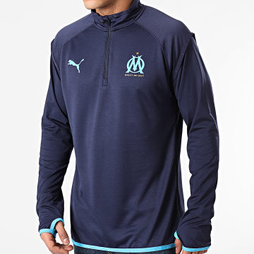 Puma - Sweat Col Zippé OM Warmup Midlayer Bleu Marine