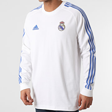 Adidas Performance - Tee Shirt Manches Longues A Bandes Real Madrid Icons GI0007 Blanc