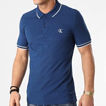 Calvin Klein - Polo Manches Courtes Slim Tipping 6559 Bleu Marine