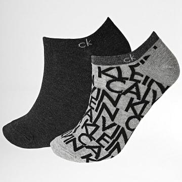 Calvin Klein - Lot De 2 Paires De Chaussettes Basses 100001845 Gris Chiné