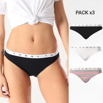 Tommy Hilfiger - Lot De 3 Culottes Femme Bikini 2523 Blanc Bleu Marine Rouge