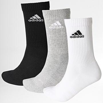Adidas Performance - Lot De 3 Paires De Chaussettes Cush Crew DZ9355 Noir Blanc Gris Chiné