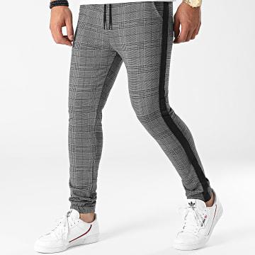 LBO - Pantalon Jogging A Carreaux Avec Bandes 0028 Gris Anthracite
