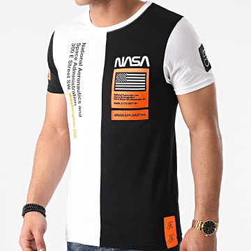 Final Club - Tee Shirt Nasa Half Limited Edition Noir Blanc Détails Orange Fluo