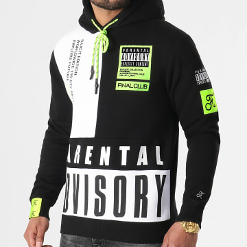 Final Club - Sweat Capuche Illicit Edition Noir Blanc Détails Jaune Fluo