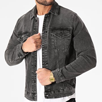 Only And Sons - Veste Jean Come Trucker Gris Anthracite