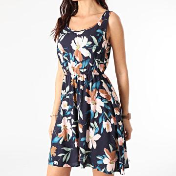 Only - Robe Femme Floral Nova Life Bleu Marine