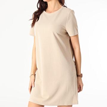 Only - Robe Tee Shirt Femme Tina Beige