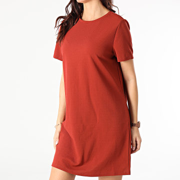 Only - Robe Tee Shirt Femme Tina Rouge Brique