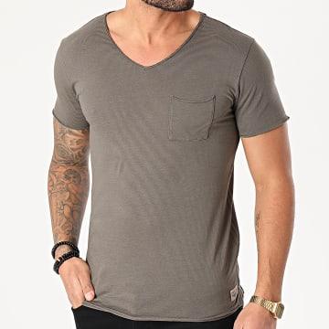 Teddy Smith - Tee Shirt Poche A Rayures Ago Vert Kaki