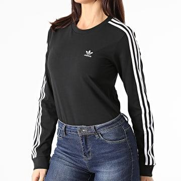 Adidas Originals - Tee Shirt Manches Longues Femme A Bandes 3 Stripes GN2911 Noir
