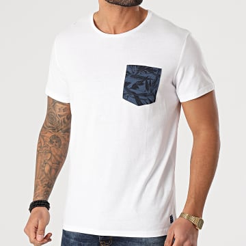 Blend - Tee Shirt Poche Floral 20712208 Blanc Bleu Marine