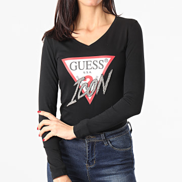 Guess - Tee Shirt Manches Longues Femme Col V A Strass W1RI52-I3Z00 Noir