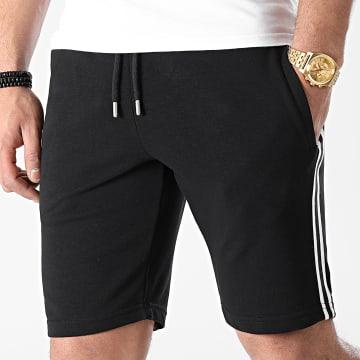 LBO - Short Jogging Avec Bandes Noir Blanc 1495 Noir