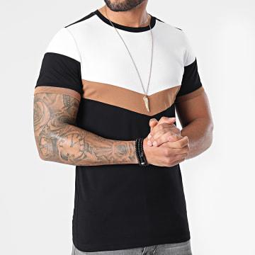 LBO - Tee Shirt Tricolore 1559 Blanc Camel Noir