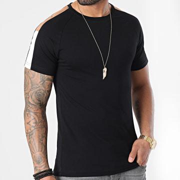 LBO - Tee Shirt Raglan Bandes Bicolore 1583 Noir