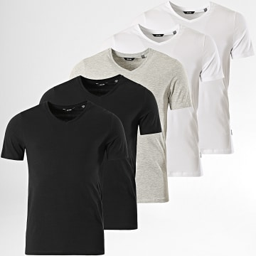 Only And Sons - Lot De 5 Tee Shirts Col V Basic Life Blanc Noir Gris Chiné