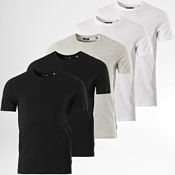 Only And Sons - Lot De 5 Tee Shirts Basic Life Blanc Noir Gris Chiné