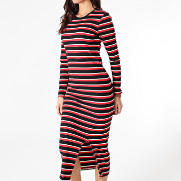 Only - Robe Pull Femme Manches Longues A Rayures Donna Life Noir Rouge Blanc
