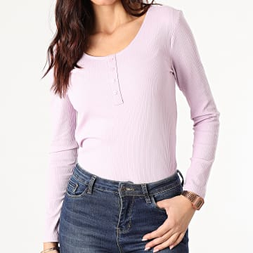 Only - Top Femme Manches Longues Simple Life Mauve