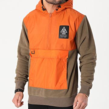Vans - Sweat Col Zippé Capuche Polaire 66 Supply A4RZPZMU1 Vert Kaki Orange