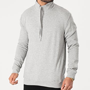 Brave Soul - Sweat Col Zippé Targaryenb Gris Chiné