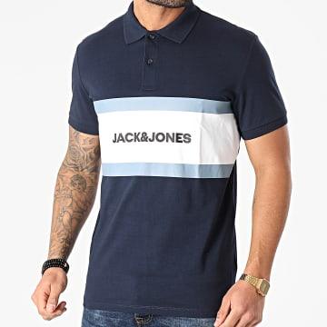 Jack And Jones - Polo Manches Courtes Shake Bleu Marine Blanc