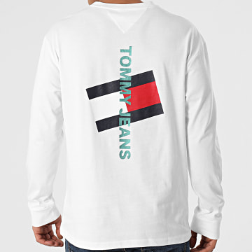 Tommy Jeans - Tee Shirt Manches Longues Vertical Tommy Logo 0241 Blanc