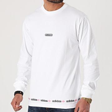 Adidas Originals - Tee Shirt Manches Longues Linear Repeat GN3880 Blanc