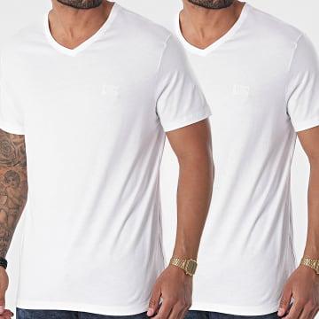 HUGO - Lot De 2 Tee Shirts Col V RN 50377779 Blanc