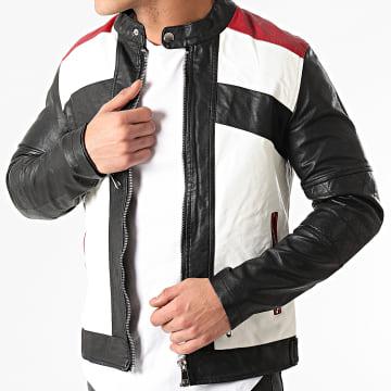 MTX - Veste Biker 855 Blanc Noir Rouge
