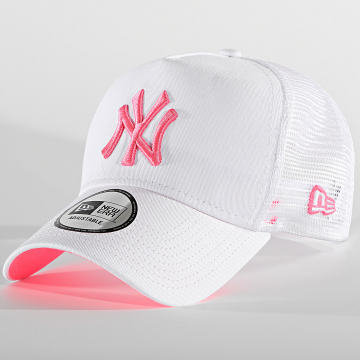 New Era - Casquette Trucker New York Yankees Neon 12747719 Blanc Rose