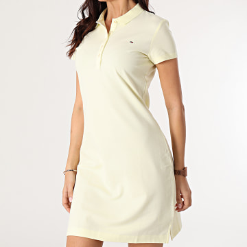 Tommy Hilfiger - Robe Polo Femme Manches Courtes 7949 Jaune Clair