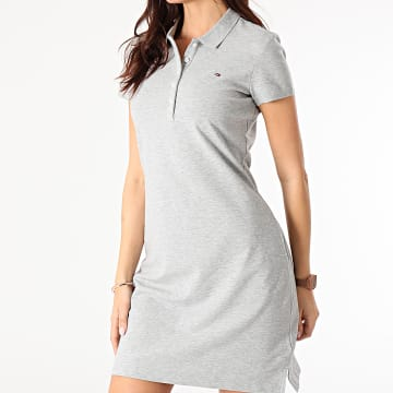 Tommy Hilfiger - Robe Polo Femme Manches Courtes 7949 Gris Chiné