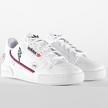 Adidas Originals - Baskets Femme Continental 80 FX6067 Footwear White Collegiate Navy Scarlet