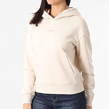 Calvin Klein - Sweat Capuche Femme Logo Trim 5464 Beige