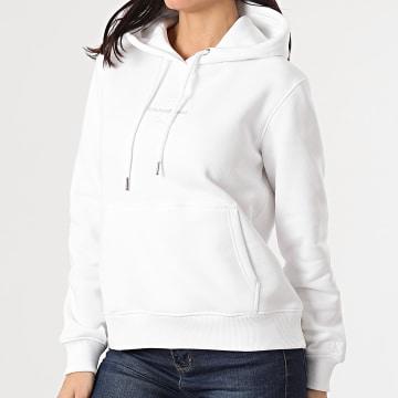 Calvin Klein - Sweat Capuche Femme Monogram Logo 5486 Blanc