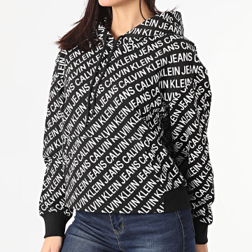 Calvin Klein - Sweat Capuche Crop Femme AOP Logo 5573 Noir