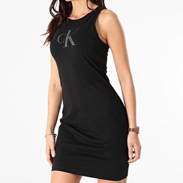 Calvin Klein - Robe Débardeur Femme Satin Bonded Racer Back 5663 Noir