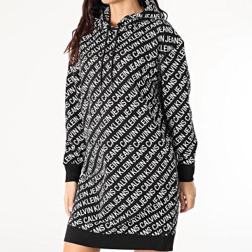 Calvin Klein - Robe Sweat Capuche Femme Oversize Logo AOP 6187 Noir