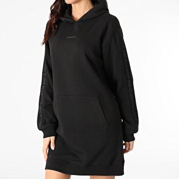 Calvin Klein - Robe Sweat Capuche Femme A Bandes Logo Trim 6348 Noir