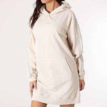 Calvin Klein - Robe Sweat Capuche Femme A Bandes Logo Trim 6348 Beige