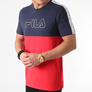 Fila - Tee Shirt A Bandes Jopi Blocked Tape 683404 Rouge Bleu Marine