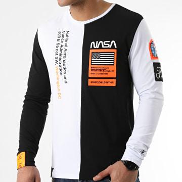 Final Club - Tee Shirt Manches Longues Nasa Half Limited Edition Noir Blanc Détails Orange Fluo