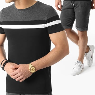 LBO - Ensemble Tee Shirt Et Short 1562 Noir Gris Anthracite