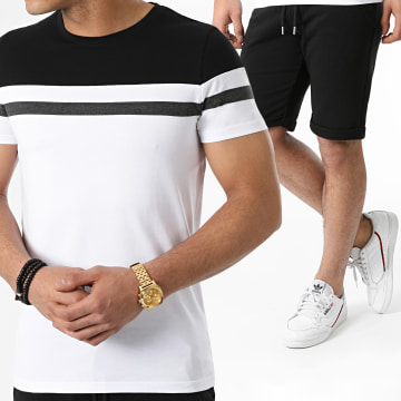 LBO - Ensemble Tee Shirt Et Short 1563 Noir Blanc