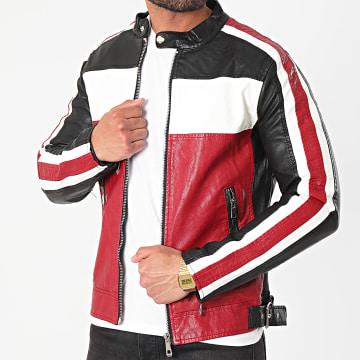 MTX - Veste Biker 858 Noir Blanc Rouge