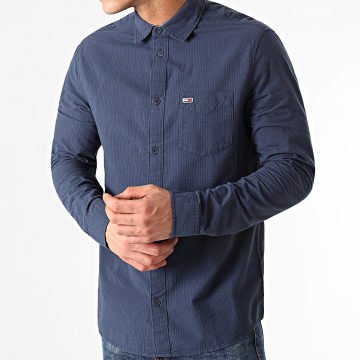 Tommy Jeans - Chemise Manches Longues Solid Seersucker 0638 Bleu Marine