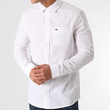 Tommy Jeans - Chemise Manches Longues Solid Seersucker 0638 Blanc