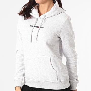Tommy Jeans - Sweat Capuche Femme Linear Logo 0132 Gris Chiné